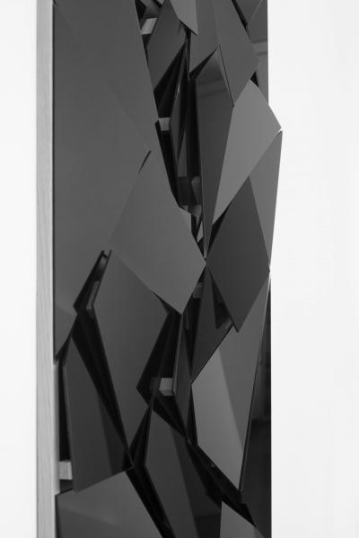 LELLO//ARNELL: <em>Apophenia (Black)</em> | Detail | 2014 | Black glass, oak, MDF | 130cm x 90cm