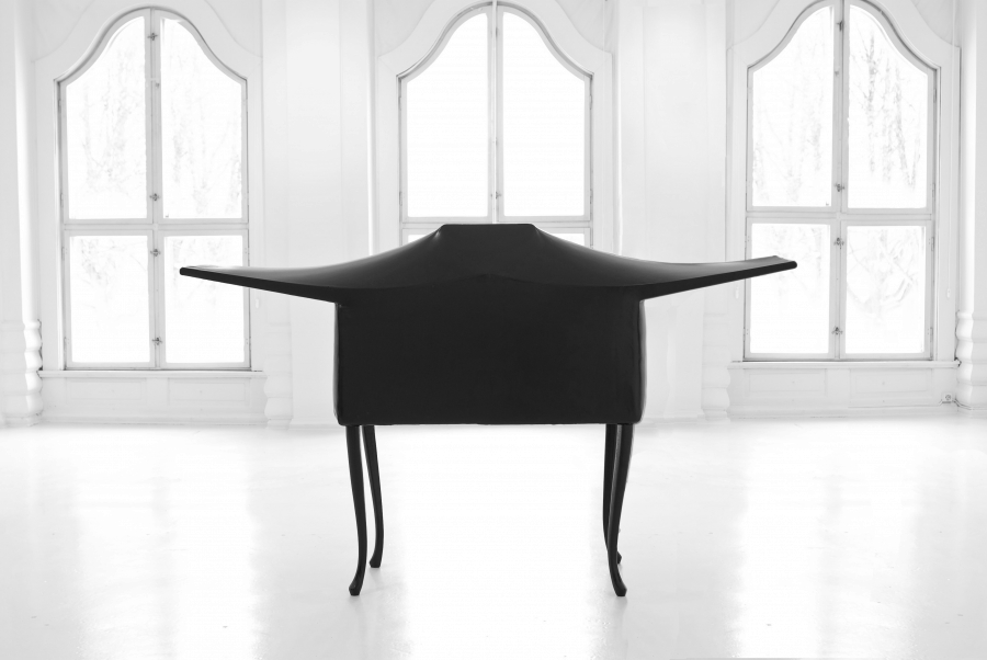 LELLO//ARNELL: <em>The Lesser Ark of Transmission</em> | 2009 | Chairs, radio, re-enforced shrink-wrap | 120cm x 40cm x 180cm
