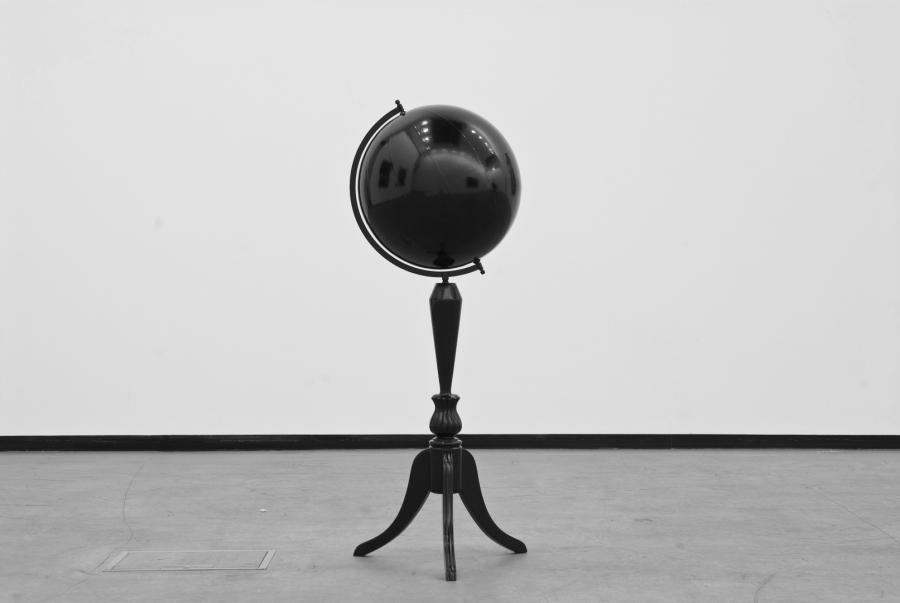 LELLO//ARNELL: <em>Taking One Step Back in Order to Take Two Steps Forward</em> | 2008 | Varnished antique world globe | 105cm x 35cm x 35cm