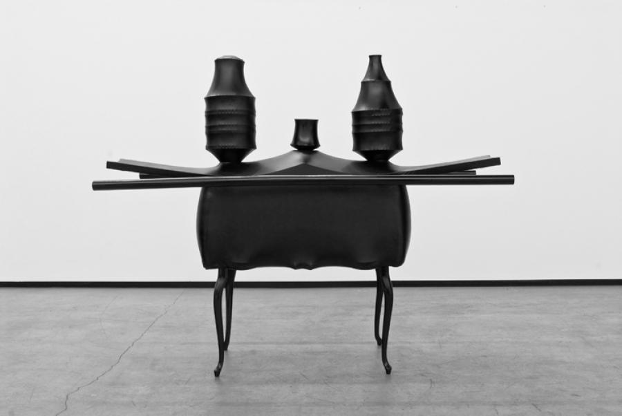 LELLO//ARNELL: <em>Gentleman's Traveling Shrine</em><br/>2008 | Chairs, porcelain, silver, crystal, wood, shrink-wrap | 140cm x 80cm x 140cm<br/>Collection of Sørlandet Art Museum